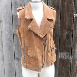 NWT Suede Leather Moto Vest Size L